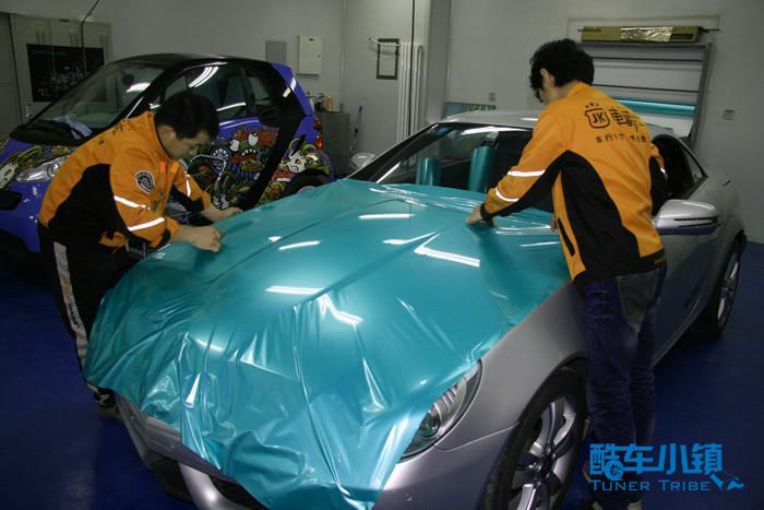 车爵仕tiffany蓝全车贴膜奔驰slk200高清图片